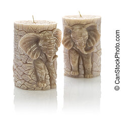 two candles on the form of elefant