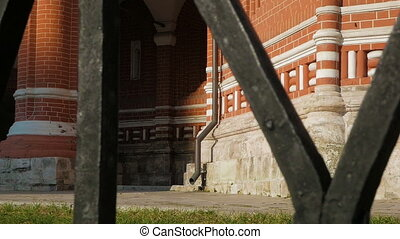 St Basil's Cathedral in Moscow - Panning shot of foundation...