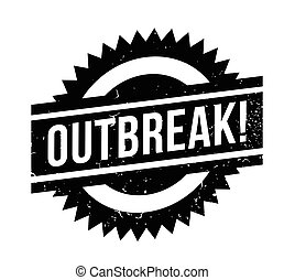Outbreak rubber stamp. Grunge design with dust scratches....
