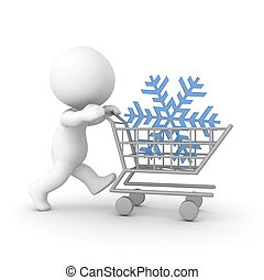 3D Character pushing a shopping cart with a snowflake....