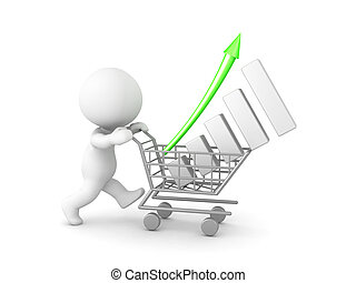 3D Character pushing a shopping cart with a financial graph...
