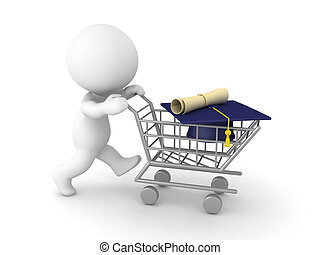 3D Character pushing a shopping cart with a diploma inside...