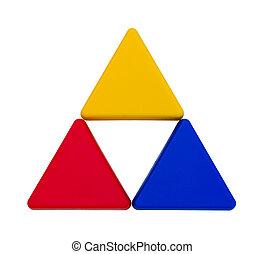 colorido, aislado, triángulos