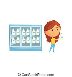 Store fridge with dairy products, young woman buying milk in...