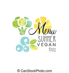 Menu summer vegan 100 percent logo, element for healthy food...