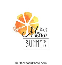 Summer menu 100 percent logo, element for healthy food,...