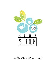 Summer menu logo, element for healthy food and drinks,...
