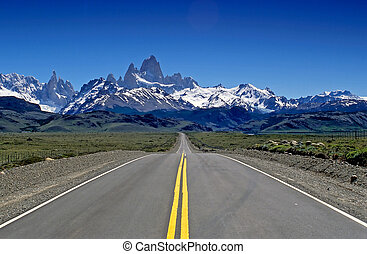 Fitz Roy straight ahead - A long straight road towards the...