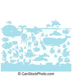 Ocean wildlife blue on light blue - Ocean wildlife...