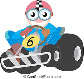 Funny cartoon racing kart with a grinning driver color...