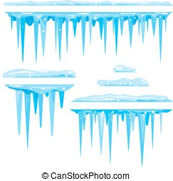 Set of Icicles Cluster - Blue frozen icicle cluster hanging...