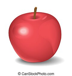 Vector illustration of red apple isolated on white
