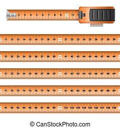 Tape Measure - Measuring Graphic Design Orange Centimeter...