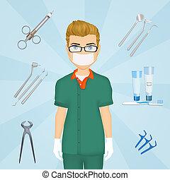 illustration of dentist tools - funny illustration of...