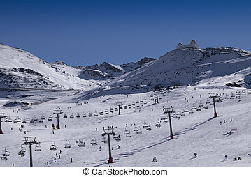 Sierra Nevada ski resort - snow on the ski slope in the...
