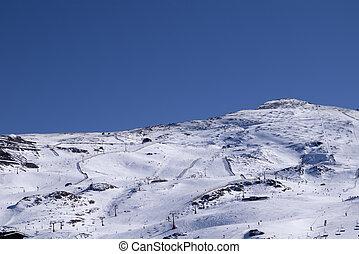 ski slope in the sun