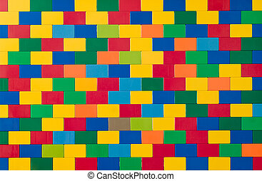 Toy brick wall in different colours