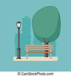 Park with bench and streetlight. - Outdoor recreation in the...