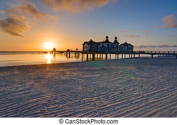 Sunrise at the baltic sea - Sunrise on Ruegen island, Baltic...