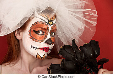 Blonde bride with Roses - Red-haired bride with black roses...