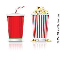 full glasses with drink and popcorn - full glass with drink...