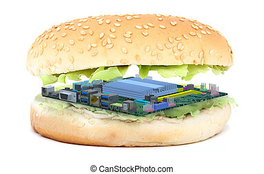 Sandwich with pc mother board instead of an burger,...
