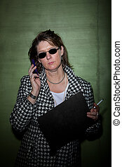 Cool Lineup - Woman smoking and talking on cellphone takes...