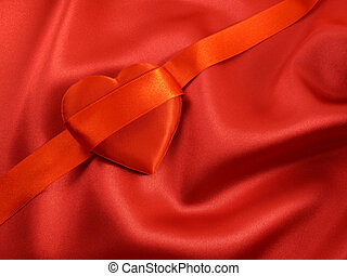Satiny Valentine Heart - Red Satin Heart with Ribbon on Red