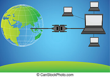 world wide networking - illustration of laptops connected...