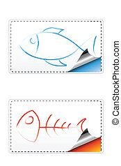 fishy sticker - illustration of fish sticker on an isolated...