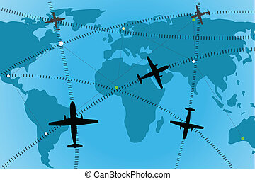 airline route - illustration of airline route on world map