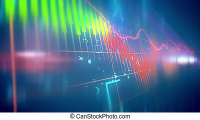 Fluctuating business line chart - Holographic 3d rendering...
