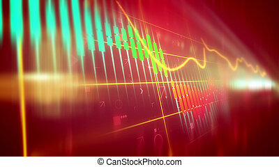 Multicolored marketing line chart - Sparkling 3d...
