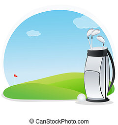 golf kit - illustration of golf kit in golf course