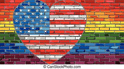 LGBT flag on a brick wall with the USA heart - Illustration,...