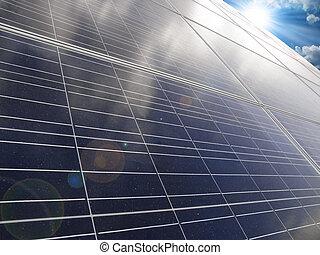 Solar energy, sun-power plant on sky background