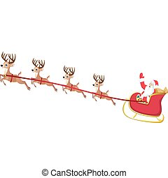 santa sleigh - vector illustration of santa's sleigh cartoon