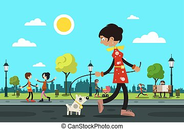 Woman with Dog and People in City Park on Background