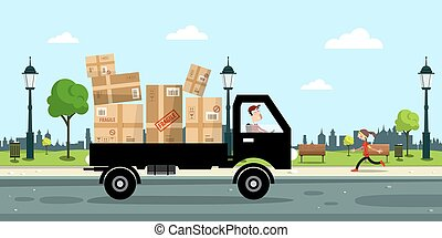 Delivery Service Car with Paper Boxes and Driver on Street with City park on Background. Vector Illustration.