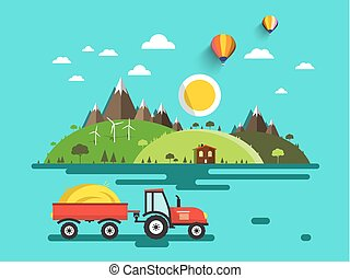 Flat Design Vector Landscape. Tractor with Dray on Field....