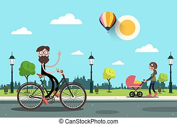 Man on Bicycle and Young Woman with Baby Carriage in City park. Vector Flat Design Cartoon. Sunny Day in Town.
