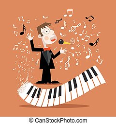 Music Background with Abstract Piano Keyboard and Notes. Vector Singer with Microphone.