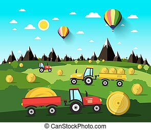 Harvesting Vector Landscape with Hay Balls and Tractors. Nature Scene with Hot Air Balloons and Green Field.