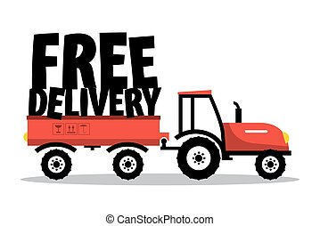 Free Delivery.Vector Funky Symbol with Tractor Isolated on...