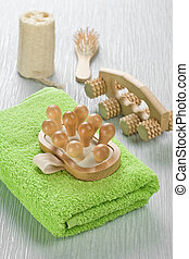 collection of bath accessories