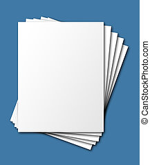 Fanned, stacked papers, isolated - Fanned, stacked blank...