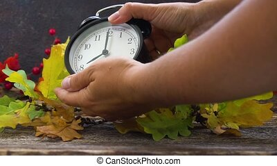 Autumn time - fall leaves with clock - Autumn time -...