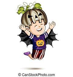 niño, halloween el traje