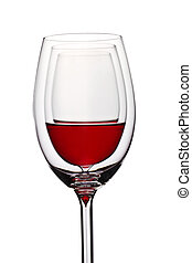 glass with red wine on white