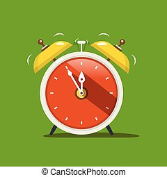 Alarm Clock. Vector Flat Design Icon on Green Background.
